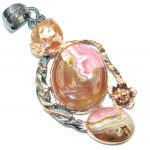 Awesome Rhodochrosite Rose Gold over Sterling Silver Pendant