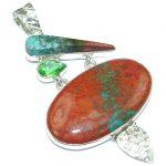 Perfection Red Sonora Jasper Peridot Sterling Silver Pendant