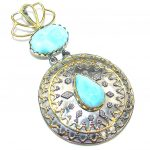 Big! Gorgeous Blue Larimar, Gold Plated, Rhodium Plated Sterling Silver Pendant