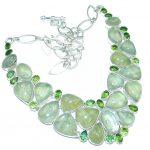 Heavenly Love AAA Green Moss Prehnite Sterling Silver necklace
