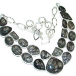 Natural Beauty! Black Tourmalinated Quartz Sterling Silver necklace