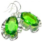 Amazing! Created Green Peridot Sterling Silver earrings