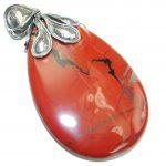 Pale Beauty! Red Jasper Sterling Silver Pendant