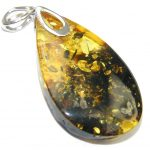 Secret Inside! Baltic Polish Amber Sterling Silver Pendant