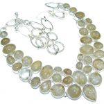 Perfect Design! Golden Rutilated Quartz Sterling Silver necklace