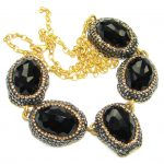 Victorian Style! Created Black Sapphire & Maracsite Sterling Silver Necklace