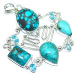 Large! Secret Beauty! Blue Turquoise Sterling Silver Pendant