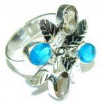 Fashion Design! Multicolor Quartz Sterling Silver Ring s. 9 3/4