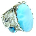 Natural AAA Blue Larimar Sterling Silver Ring s. 6 3/4 adjustable