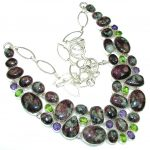 Exclusive Style! Green Russian Seraphinite Sterling Silver necklace
