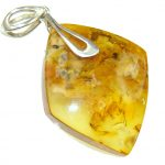 Pretty and Simple Baltic Polish Amber Sterling Silver Pendant