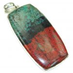 Huge Excellent AAA Red Sonora Jasper Sterling Silver Pendant