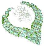 Green Lotus! Created Green Amethyst Sterling Silver necklace