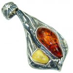 Big! Vintage Style! Butterscotch, Brown Amber Sterling Silver Pendant