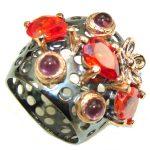 Lovely Night! Garnet Quartz & Amethyst, Rose Gold Plated, Rhodium Plated Sterling Silver Ring s. 7