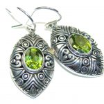 Secret Island! Created Green Peridot Sterling Silver earrings