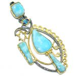 Exotic Style! AAA Blue Larimar & London Blue Topaz, Gold Plated, Rhodium Plated Sterling Silver Pendant