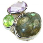 Pale Beauty! Labradorite & Amethyst & Peridot Sterling Silver Ring s. 7 – adjustable