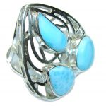 Big! True Love! AAA Blue Larimar Sterling Silver Ring s. 8 1/2