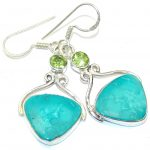 Fresh Green Turquoise & Quartz Sterling Silver earrings