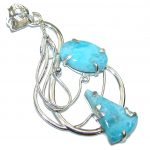 Secret Beauty! AAA Blue Larimar Sterling Silver Pendant