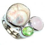 Amaizng Brown Butterfly Jasper Sterling Silver ring s. 7- adjustable