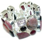 Pale Beauty! Rhodonite Sterling Silver Bracelet