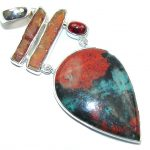 Excellent AAA Red Sonora Jasper & Tourmaline Sterling Silver Pendant
