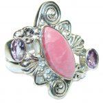 Amazing Pink Rhodochrosite & Amethyst Sterling Silver ring s. 9