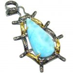 Secret Beauty! AAA Blue Larimar, Gold Plated, Rhodium Plated Sterling Silver Pendant