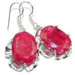 Natural Beauty! Pink Ruby Sterling Silver earrings