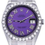 Rolex Datejust II Watch / 41 MM / Custom Purple Roman Dial / Oyster Band