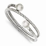 Sterling Silver Textured Wrap Bangle Bracelet