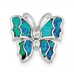 Sterling Silver Blue Inlay Simulated Opal Butterfly Pendant
