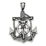 Sterling Silver Antiqued Mariner Cross Pendant