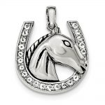 Sterling Silver Antiqued Polished Cz Horse/horseshoe Pendant