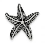 Sterling Silver Antiqued & Textured Star Fish Chain Slide Pendant