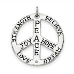 Sterling Silver Polished Cz Antiqued Peace Inspiration Pendant