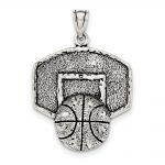 Sterling Silver Antiqued & Textured Basketball With Backboard Pendant
