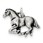 Sterling Silver Antiqued & Textured Horse Pendant