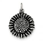 Sterling Silver Antiqued & Textured Small Sunflower Pendant
