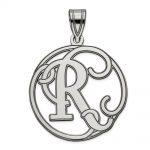 Sterling Silver Fancy Script Initial R Charm
