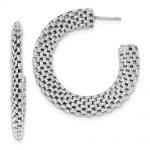 Sterling Silver Rhodium-plated Mesh Post Hoop Earrings