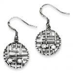 Sterling Silver & CZ Antiqued Fancy Circle Earrings