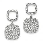 Sterling Silver Open CZ Square & Hanging Full Square CZ Post Dangle Earring