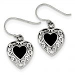 Sterling Silver Onyx Heart Shepherd Hook Antiqued Earrings