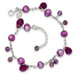 Sterling Silver 7 Inch Purple Fresh Water Cultured Pearl & Lavender Crystal Bracelet
