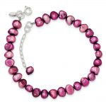 Sterling Silver Pink Freshwater Cultured Pearl Bracelet