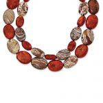 Sterling Silver 7.5 Inch Carnelian/Red Coral/Red Zebra Jasper Bracelet