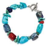 Sterling Silver 8 Inch Red Coral/Howlite/Lapis & Turquoise Bracelet